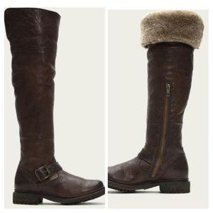Frye NIB Valerie OTK Shearling Boots BROWN